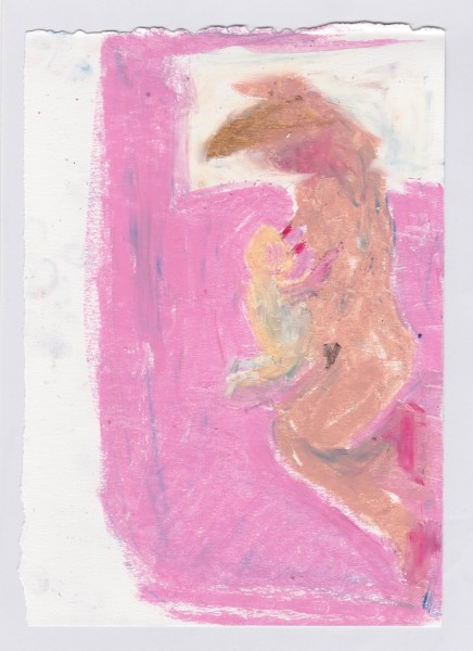 Jessica Jane Charleston Pink Sheet oil pastel on paper Artwork: 25.5 x 18cm