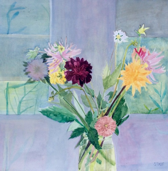 Suzy Fasht Flowers from the Cutting Garden watercolour