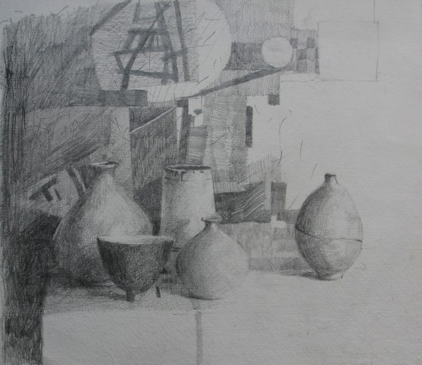 Annie Williams Pots pencil Frame: 50 x 55 cm Artwork: 29 x 32 cm