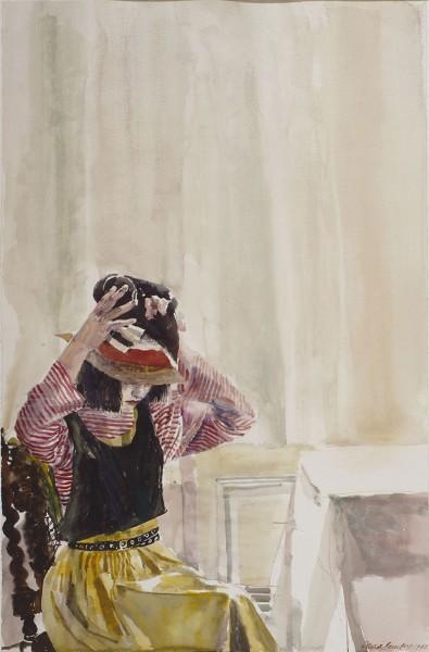 David Remfry RA, Woman and Hat (Sarah)