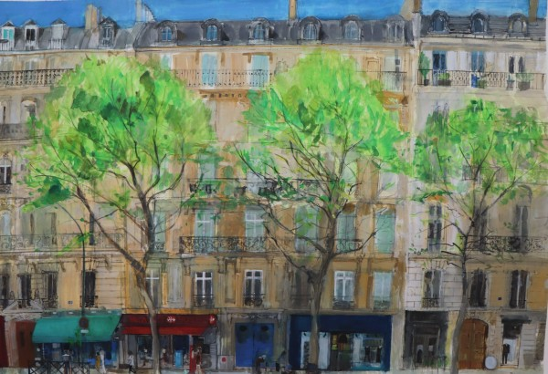 Peter Quinn Boulevard, Paris watercolour on paper Artwork: 115 x 80cm