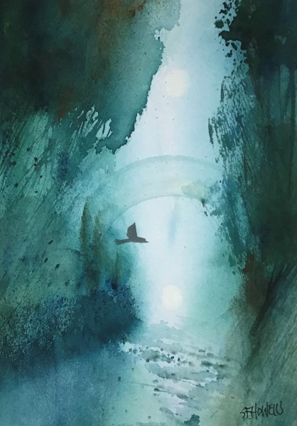 Sue Howells Morning has Broken watercolour Frame: 38 x 48 cm Artwork: 25 x 36 cm