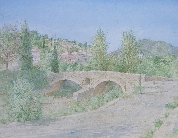 Dennis Roxby Bott Roman Bridge, Polenca, Mallorca watercolour 44x56cm