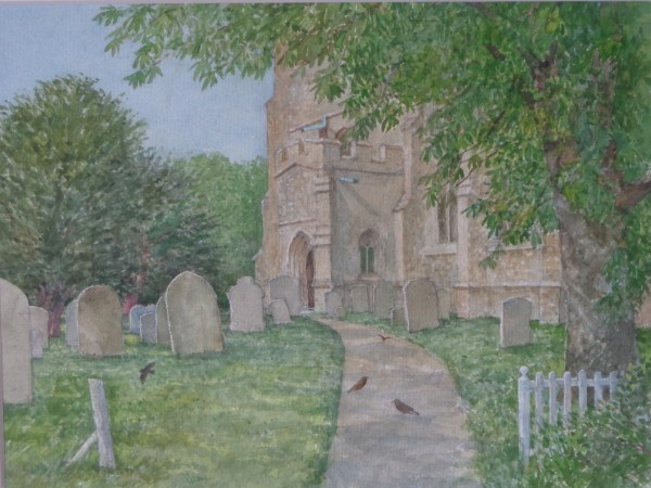 David Payne Spring Colmworth Church watercolour 48x58cm