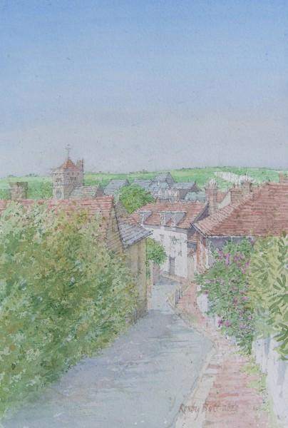 Dennis Roxby Bott Chapel Hill, Lewes watercolour Frame: 59 x 26.5 cm Artwork: 35 x 24.5 cm