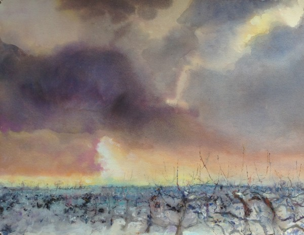 Sophie Knight An Army of Apple Trees, Some Snow and Setting Sun, Winter, Kent Mixed Media