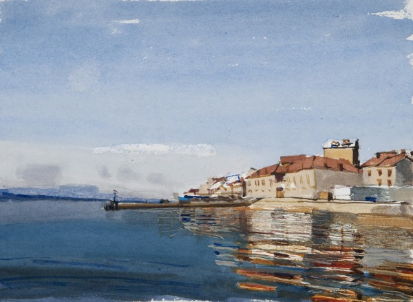 John Newberry Bol Brac Croatia watercolour Frame: 38 x 44 cm Artwork: 15 x 21 cm