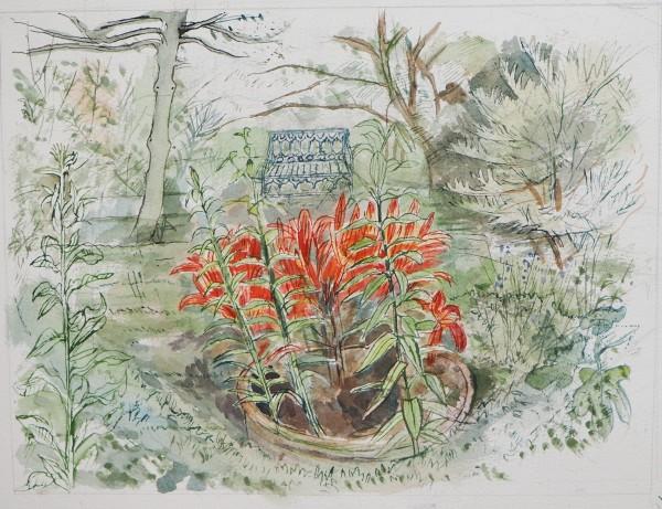 Richard Bawden Lilies watercolour Frame: 54 x 62 cm Artwork: 30 x 44 cm