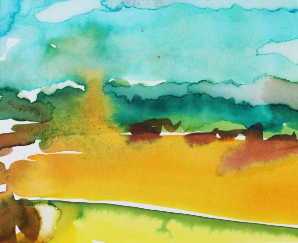 David Hamilton Harvest Field watercolour Artwork: 14 x 17 cm Frame: 33 x 43 cm