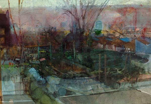Paul Newland Near Lavender Hill watercolour & gouache Frame: 46 x 50 cm Artwork: 20 x 28 cm