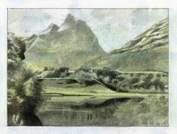 Mike Middleton Ungdomsherberge, Andalsnes watercolour Frame: 25 x 30 cm Artwork: 11 x 15 cm
