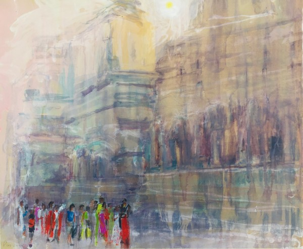 Simon Pierse School Party in Great Kailasa Temple watercolour & ink 72.5x86cm