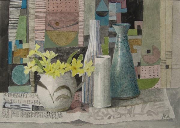 Annie Williams Late Spring Primroses watercolour Frame: 33 x 43 cm Artwork: 17 x 24 cm