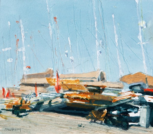 John Newberry Quayside with Yachts, Bodrum, Turkey watercolour Frame: 34 x 41 cm Artwork: 16 x 19 cm