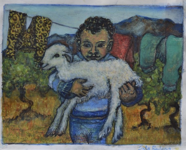 Sula Rubens Young Boy holding a Lamb watercolour on map paper Artwork: 24 x 19cm