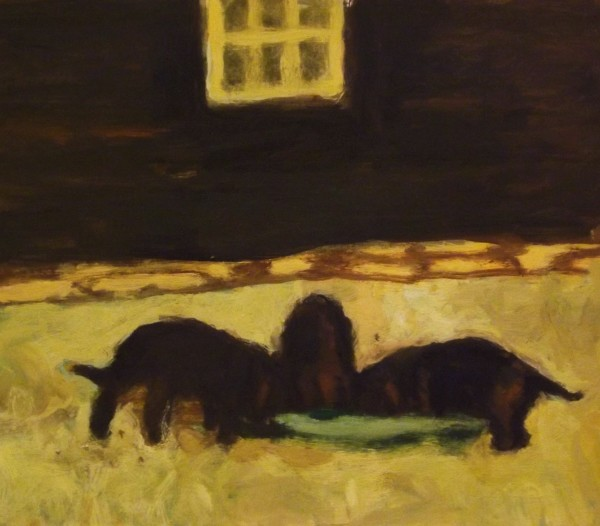 Bridget Moore Hungry Puppies gouache Frame: 32 x 30 cm Artwork: 14 x 16 cm