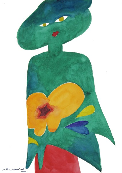 Gerry Baptist The Green Shawl watercolour Frame: 61 x 44 cm Artwork: 59.4 x 42 cm