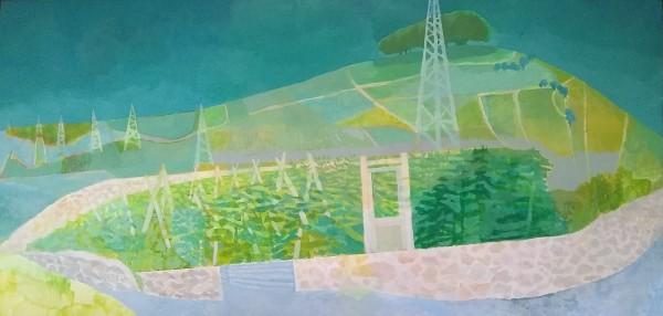 Michael Collins Buxton Landscape acrylic Frame: 40 x 70 cm Artwork: 30 x 60 cm