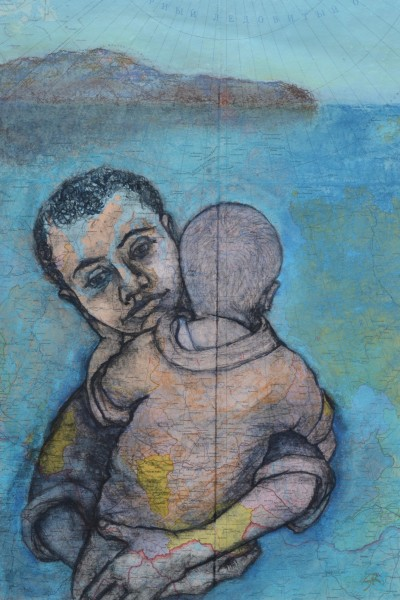 Sula Rubens Kin - Boy Carrying Young Child watercolour & pastel on map paper Frame: 86 x 65.5 cm Artwork: 60.5 x 41.6 cm