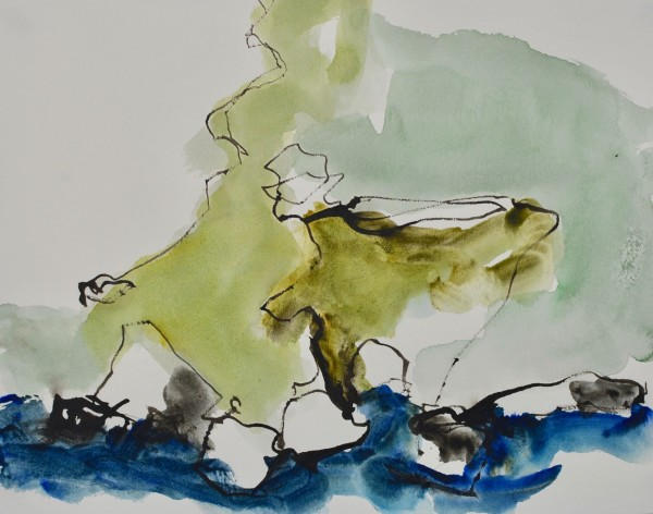 Jim Hunter Derrible Bay Cliffs watercolour and ink 33x39cm