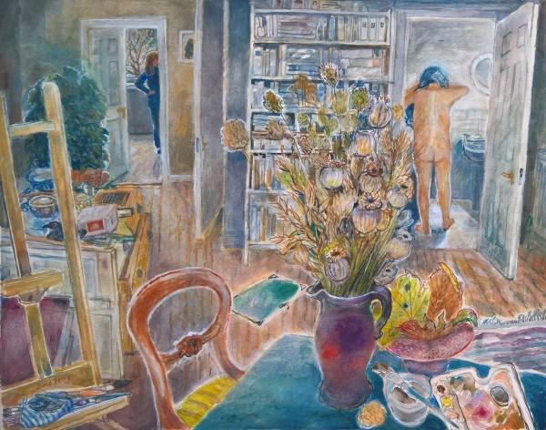 June Berry A Jug of Poppies watercolour & gouache 49x61cm