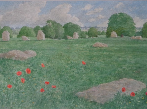 David Payne Poppies and Stones, Stanton Drew watercolour