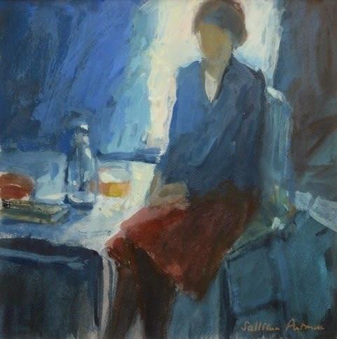 Salliann Putman Quiet Thoughts watercolour & gouache Artwork: 25 x 25 cm Frame: 45 x 45 cm
