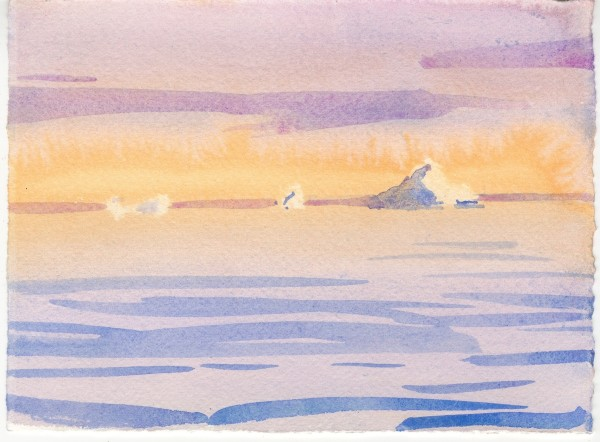 Simon Pierse Icebergs, Ilulissat VI watercolour Frame: 31 x 35 cm Artwork: 14 x 19 cm