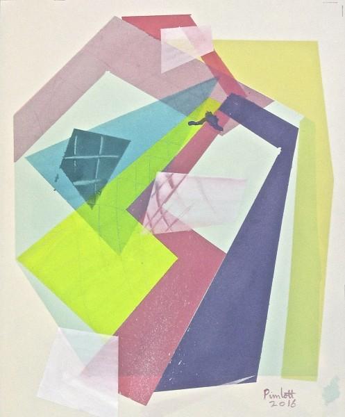 Geoffrey Pimlott Flat Cube Cubed watercolour 51x44cm