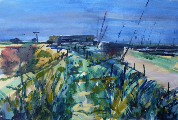 Francis Bowyer Path by The Harbour, Southwold Watercolour and Bodycolour