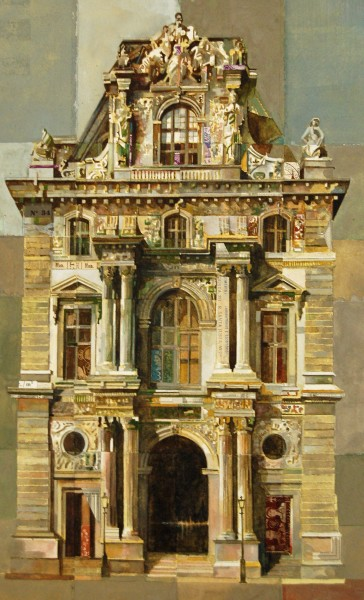 Stuart Robertson Pavillion Turgot Louvre watercolour, gouache & collage 70 x 60cm