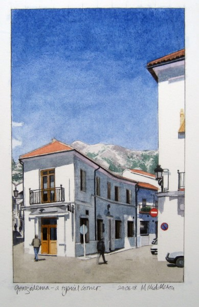 Mike Middleton Grazalema - A Typical Corner watercolour 34x42cm