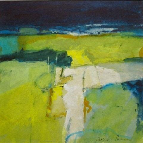 Salliann Putman Distant Hills watercolour & gouache Artwork: 25 x 25 cm Frame: 42 x 42 cm
