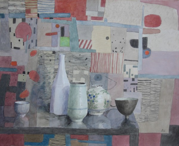 Annie Williams Still Life with an Iranian Pot watercolour 58x67cm