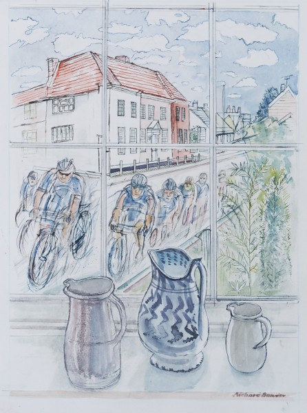 Richard Bawden Cycling Off watercolour Frame: 67 x 52.5 cm Artwork: 47 x 34 cm