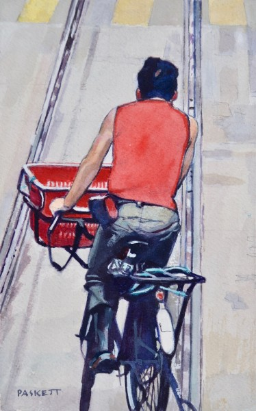 David Paskett Red Vest Deliverer, Hong Kong watercolour Artwork: 14 x 23cm