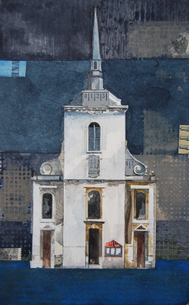 Stuart Robertson St Martin Ludgate Church Study watercolour & collage Artwork: 21 x 13 cm