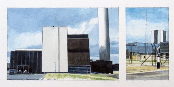 Mike Middleton Two Power Stations watercolour Frame: 44 x 28cm Artwork: 29 x 13.5cm