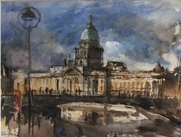 Jane Corsellis Bridge over the Liffey, Dublin watercolour Frame: 40 x 47 cm Artwork: 23 x 30 cm