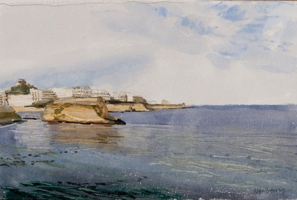 John Newberry Rocks on Calm Day Marsalforn Gozo watercolour Frame: 40.5 x 34cm Artwork: 23 x 15cm