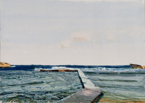 John Newberry Sunrise, Bathing place Marsalforn, Gozo watercolour Frame: 40.5 x 34cm Artwork: 23 x 16cm