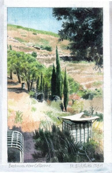 Mike Middleton Beehives near Collioure watercolour Frame: 39 x 31 cm Artwork: 19 x 12 cm