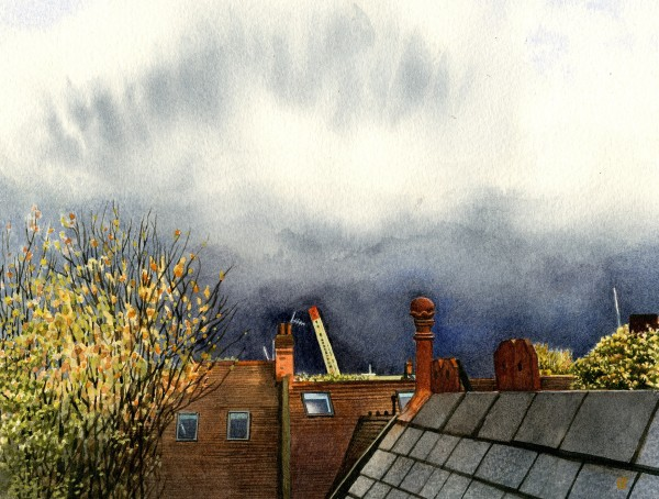 Liz Butler Hailstorm over West London watercolour Artwork: 20 x 15.5cm