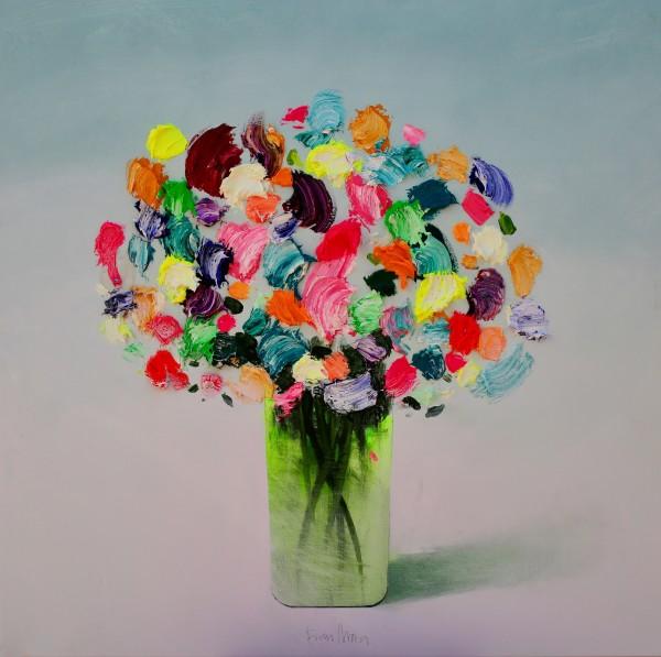 Fran Mora, Textured Flowers Green Vase No.2 , 2019