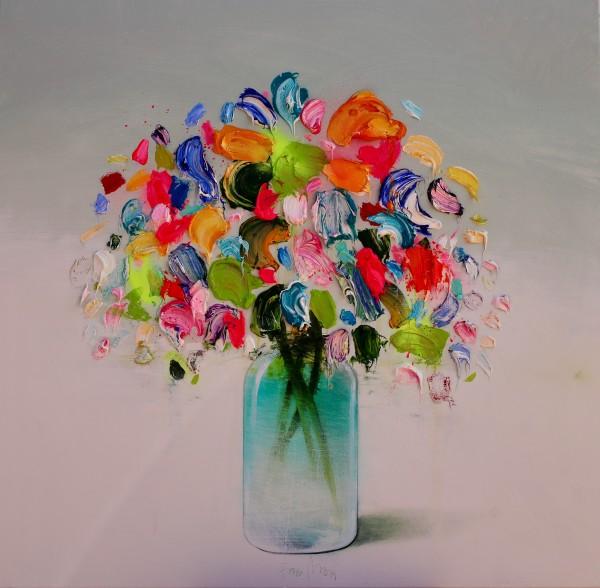 Fran Mora, Colourful Flowers II (Green Vase), 2019