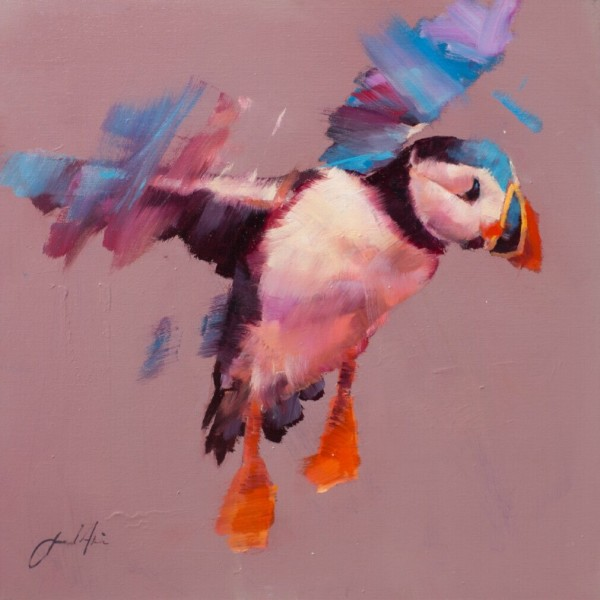 Jamel Akib, Puffin on Grey, 2018