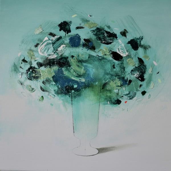 Fran Mora, Flores Verdes Turquesa, 2021