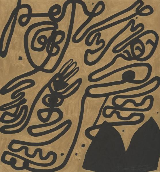 Wei Ligang 魏立刚, Gold-Ink Cursive: Temple Bells Tolling by the Azure Stream 金墨大草:蓝涧闻钟, 2012
