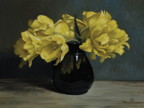 James Gillick, Yellow Parrot Tulips in a Black Jug, 2010