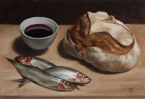 James Gillick, Bowl of Red Wine, Bread, & Three Herring, 2005